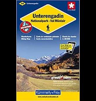 Carte de randonnée Basse Engadine-Nationalpark-Val Müstair